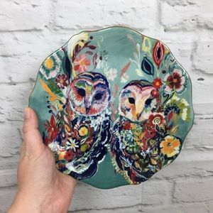 Anthropologie Starla Halfmann Owls Plate Sunburst